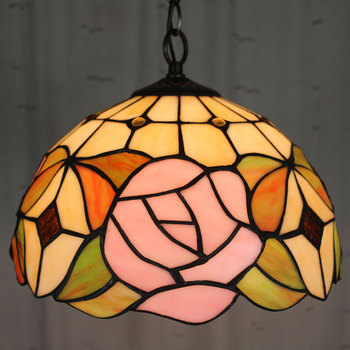 10 Inch   Country rose Tiffany pendant light Country Style Stained Glass Lamp for Bedroom E27 110-240V