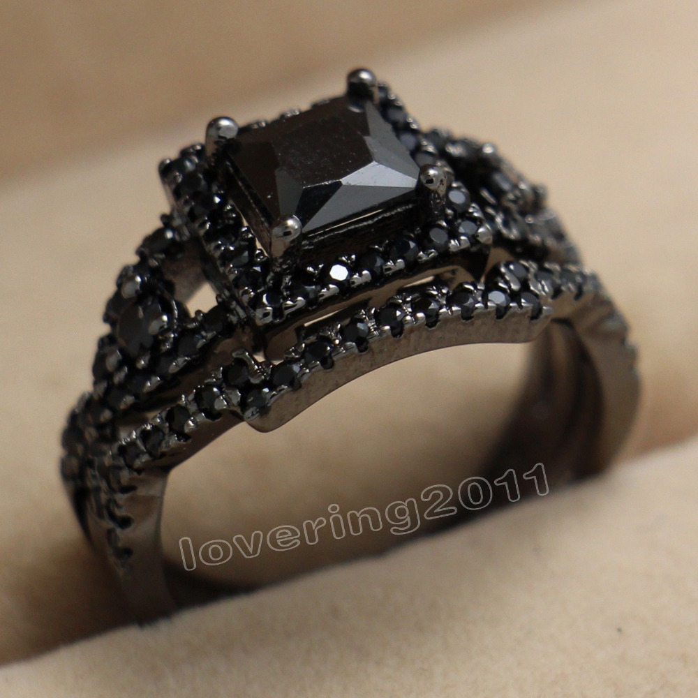 Nice Antique Black Aaa Cz Zirconia Simulated Stones Diamonique 10kt Black  Gold Filled Women Wedding Bridal