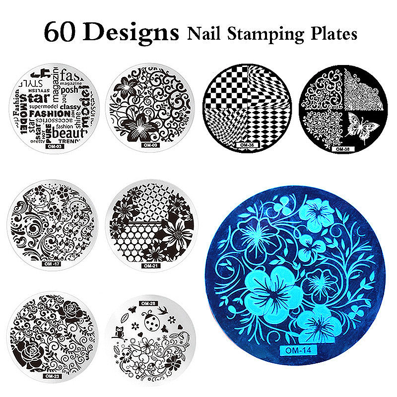 MANZILIN mp0001 OM Nail Art Plate Stamp Stamping Set Round Stainless Steel DIY Nail Polish Print Manicure Nail Stencil Template