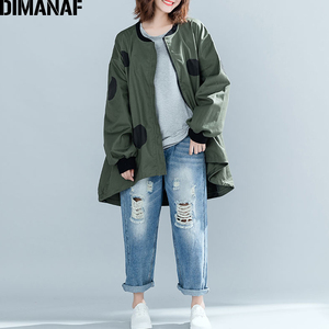 Image 3 - Dimanaf 2019 outono inverno mulheres polka dot casaco casaco tamanhos grandes cardigan com zíper roupas femininas solto oversized verde outerwear
