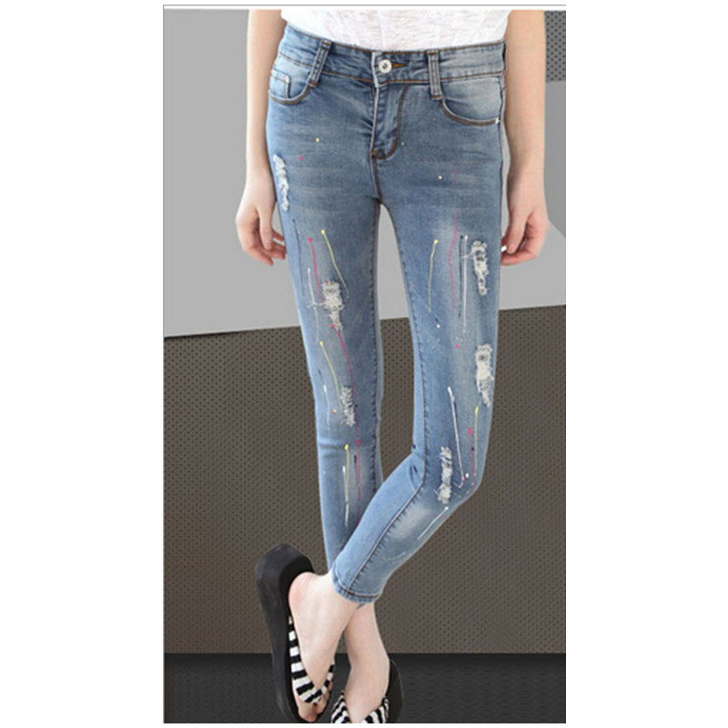 #199 2016 New Fashion Ladies Women Ankle LengthTenths Pants Holes Ripped Jeans Frame Denim Pencil Pants Size 26~32 Free Shipping