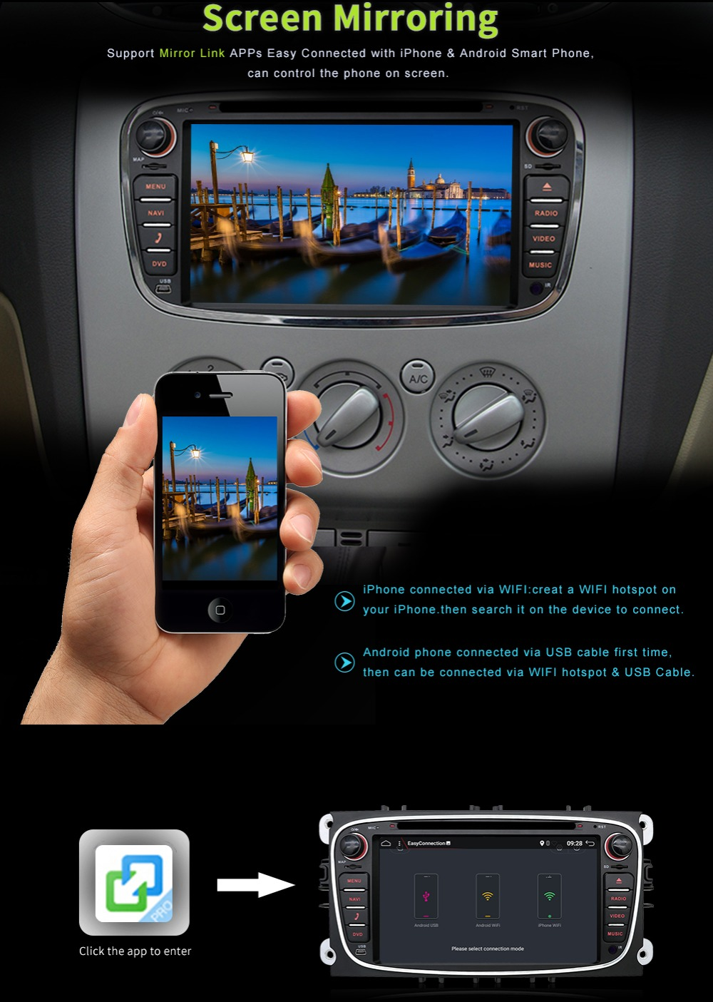 Ford Focus 2 S-max Mondeo C-max 1GB Ram 16GB ROM Güzgü wifi 3G dvd - Avtomobil elektronikası - Fotoqrafiya 4