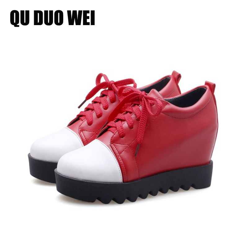 2018 Spring Height Increasing Women High Heels Shoes Lace Up College Style Women Fashion Pumps Round Toe Platform Wedges Shoes xiaying smile woman pumps shoes women spring autumn wedges heels british style classics round toe lace up thick sole women shoes