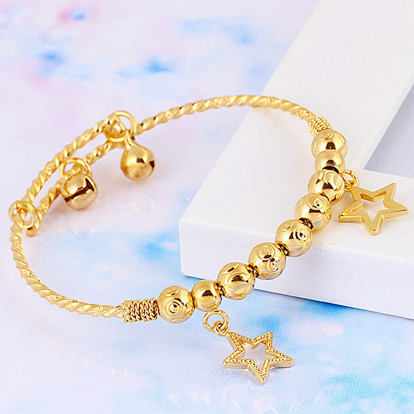 Baby Children S Jewellery 18k Yellow Gold Filled Gf Charm Ball Bead Star Bells Bangle Bracelet Free