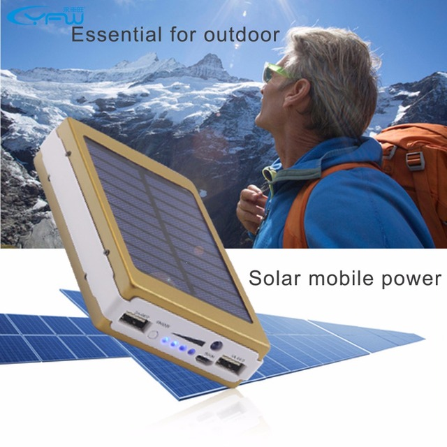 YFW Solar Charger Power Bank External Battery Charger Pack 12000mAh 20 Pieces LED Lamps Poverbank for universal Mobile