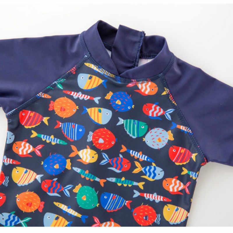 2-7 Tahun 2 Pcs Set Anak Zipper Renang Mandi Suit Anak Laki-laki Perempuan Musim Panas Pantai Baju Renang & Topi Bayi ruam Penjaga Anak-anak Baju Renang