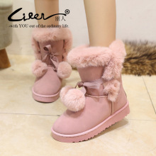Liren 2019 New Arrival women winter boots Flat Heel Warm Snow Suede Fur Snow Boots Ankle Brand Women Shoes chaussures femme недорго, оригинальная цена
