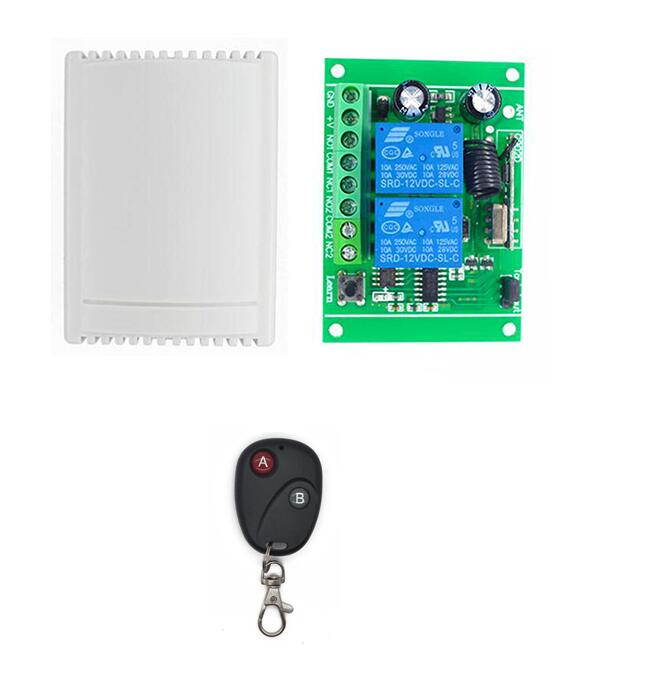 433.92Mhz DC 12V 2CH 2 channel RF Wireless Remote Control Switch Relay Receiver control Garage gate door Light Motor ...