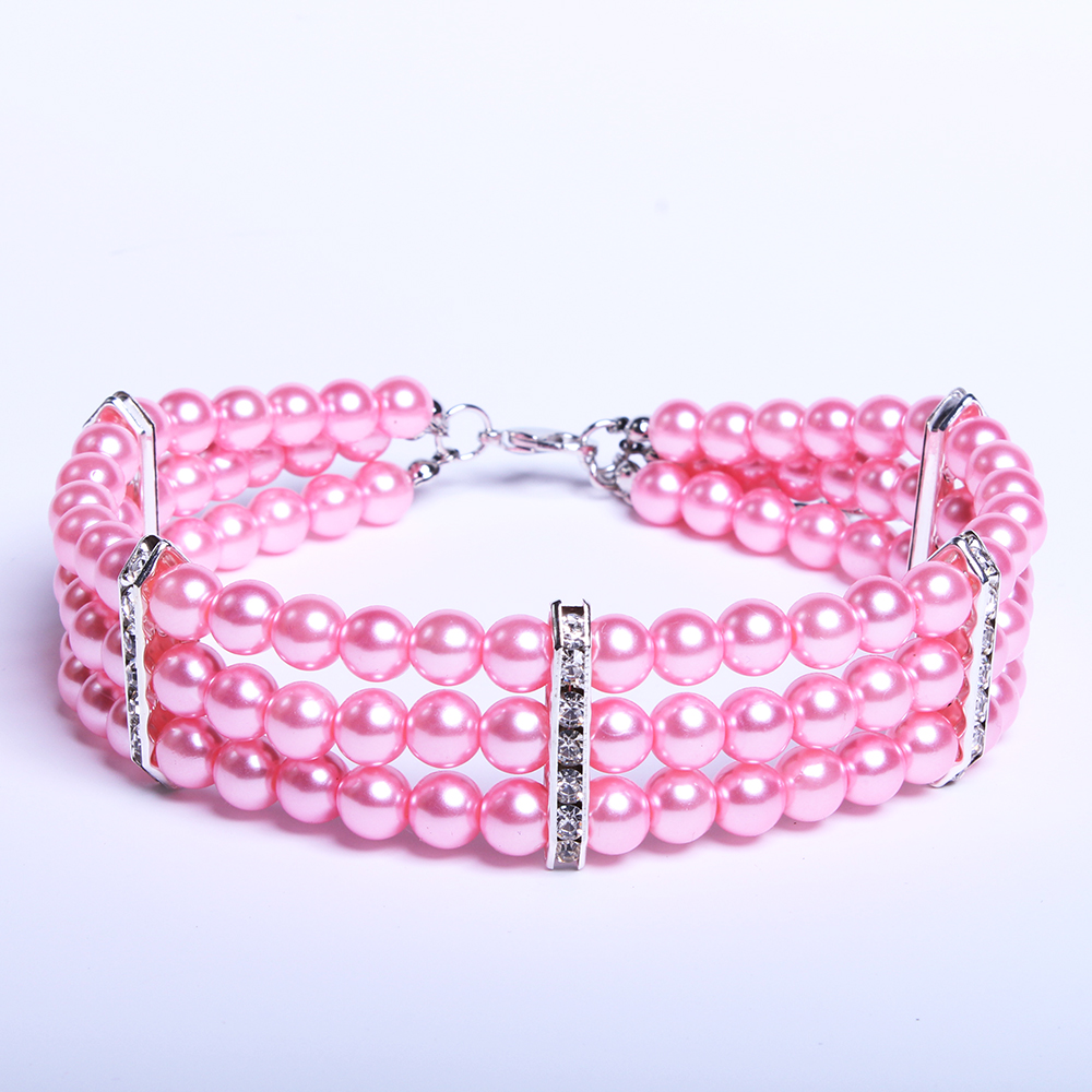 3 Rows Dog Cat Pearls Necklace Collar with Bling Accessories Charm Cat Puppy Jewelry for Dogs