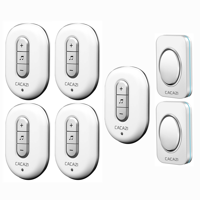 CACAZI AC 110-220V 2 transmitters+5 receivers with 48 Chimes Receiver Waterproof Wireless Doorbell Cordless Smart Door Bells 2 receivers 60 buzzers wireless restaurant buzzer caller table call calling button waiter pager system