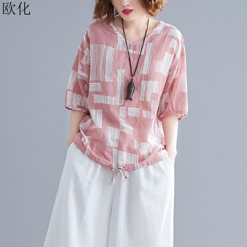 Plus Size 4XL Cotton Linen Women T Shirt 2019 Summer New Plaid Print Batwing Tshirt Big Size Casual Loose Tee Shirt Female Tops