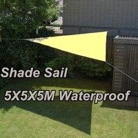 Водонепроницаемый УФ треугольные Защита от солнца Тенты парус 5 м x 5 м x 5 м Комбинации Тенты чистая Садовые принадлежности