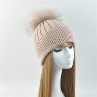 2017 Winter Real Fur Beanies Female Patchwork Warm Knitted Hats Natural Raccoon Fur Wool Hat Fashion