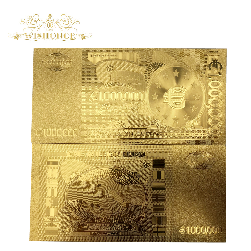 10pcs/lot Hot Sale For <font><b>Euro</b></font> Gold <font><b>Banknote</b></font> 1 Million <font><b>Euro</b></font> <font><b>Banknote</b></font> in 24k Gold Plated Paper Money Replica For Collection image