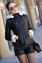 Winter Motocycle Leather jacket Women Fleece Liner Leather coat Clothes Suede leather Outerwear for Lady Plus Size 926