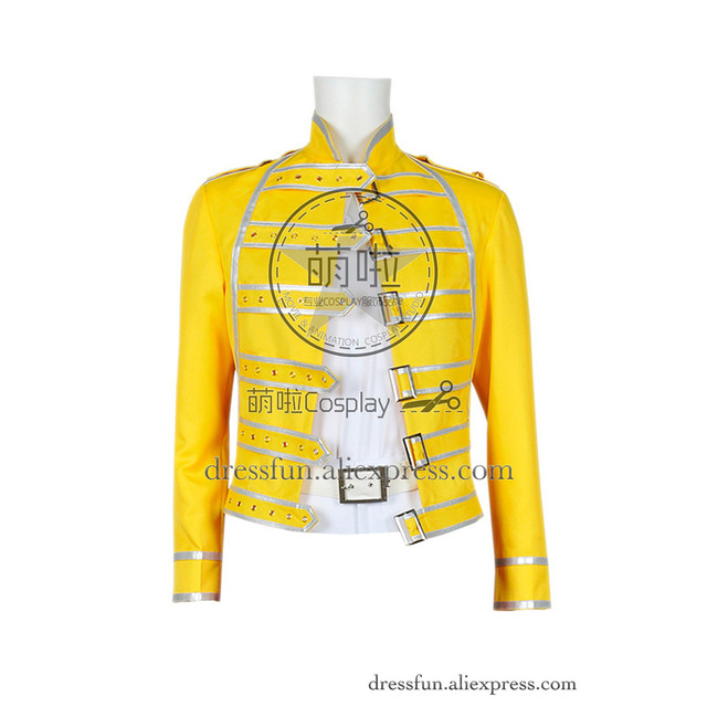 5702d20a9 Queen Band Cosplay Lead Vocals Freddie Mercury Costume Wembley Stadium Yellow  Jacket Only Halloween Fashion Party Fast Shipping