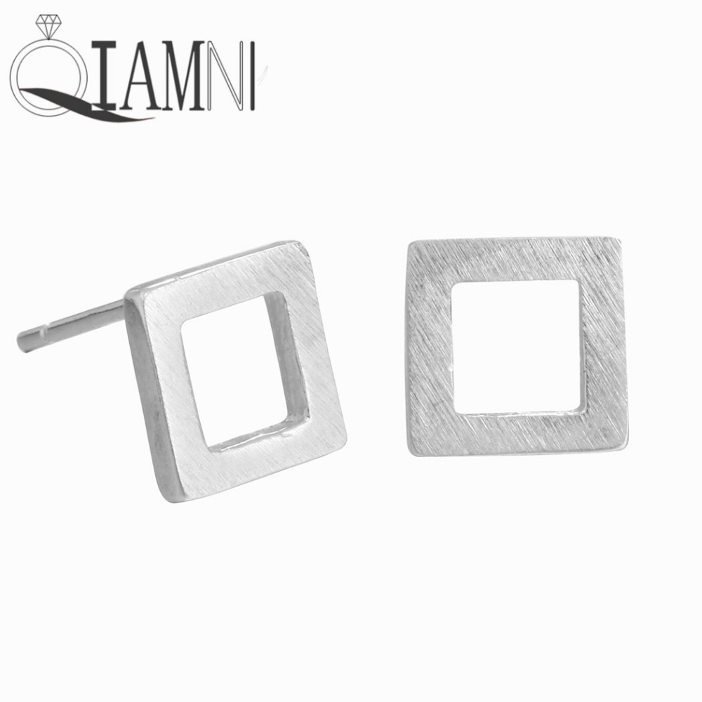 QIAMNI Hiphop Unisex Punk Geometric Square Piercing Stud Earring Girls Jewelry Birthday Christmas Gift 925 Sterling Silver