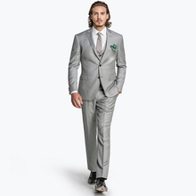 FOLOBE costume homme Custom Made Fashion Grey Men's Wedding Suits Tuxedos Bridegroom Suits Groomsman Suit Formal Suits