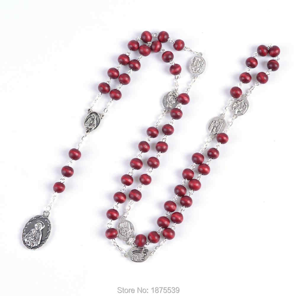 Rose scented  Rosary of the Seven Sorrows with perfume wood beads chaplet