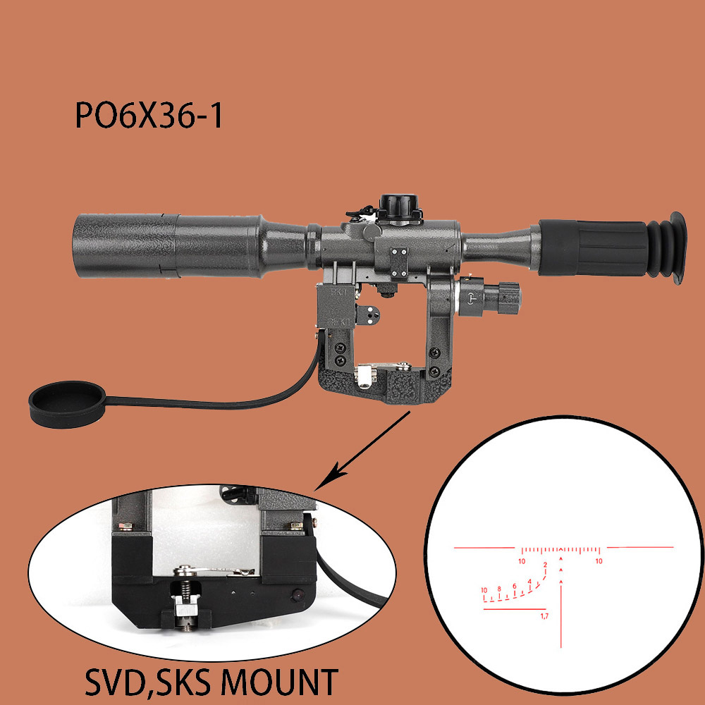 WIPSON Dragunov SVD POS 6X36 Red Illuminated Hunting Riflescope Tactical Optical Sights For Tigr Saiga Vepr 2 Style Rail Mount