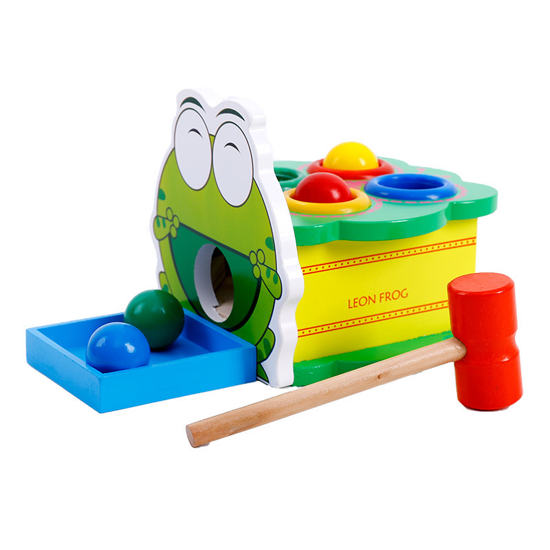 Constructive Green Leon Frog Wooden Percussion Table Toys Hammer Beating Childrens Toys Early Educational Drum Table Birthday Gift For Kids Learning & Education Biology