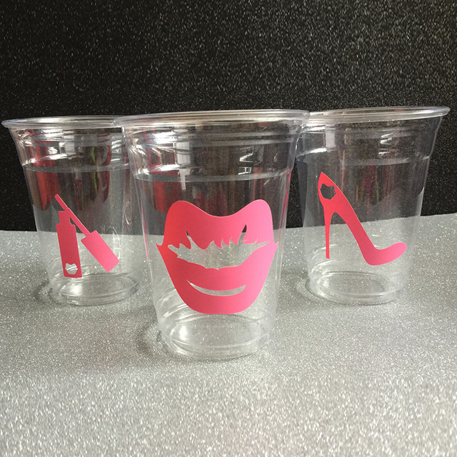 24pcs Lips Bridal Shower Theme Lady Cups Heels Lipstick Bachelorette Party Decor Cup Wedding Pink