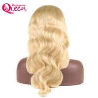 #613 блондинка Синтетические волосы на кружеве Человеческие волосы Искусственные Парики Бразильский Средства ухода за кожей волна волос, пл
