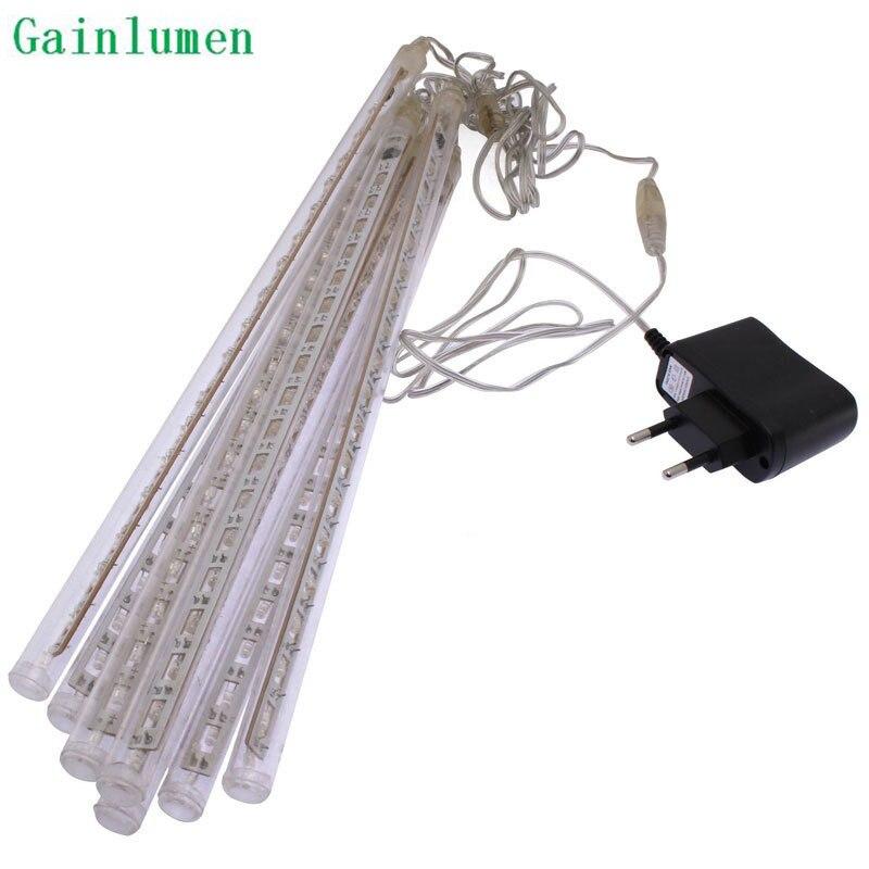 Hohe Qualität 30 cm LED Weihnachtsbeleuchtung Im Freien LED Meteor Regen Licht Für Hochzeitsdekoration 144 leds 8 Rohre 85-220 V EU & US Stecker
