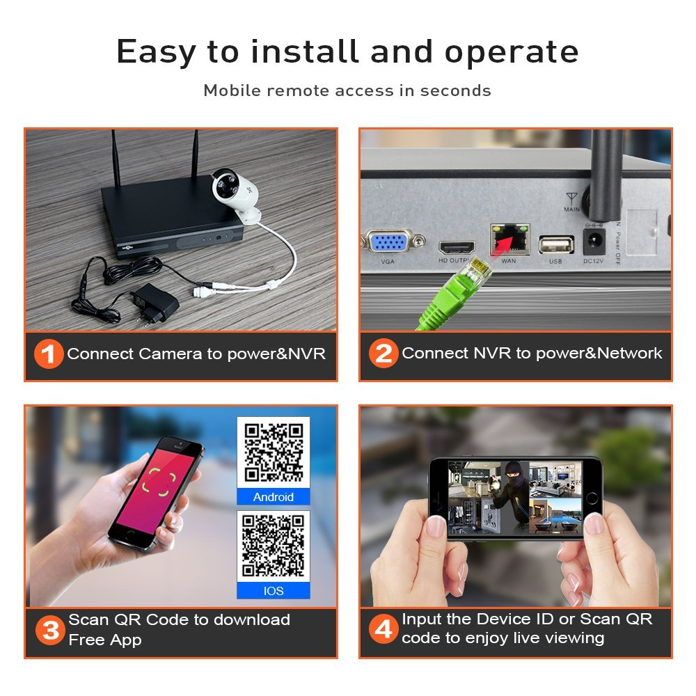 Image 5 - 2MP 1080P CCTV System 8ch HD Wireless NVR kit 3TB HDD Outdoor IR Night Vision IP Wifi Camera Security System Surveillance Hiseeu-in Surveillance System from Security & Protection