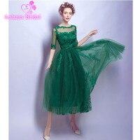 Green Lace Appliques Tulle Half Sleeve Prom Dresses Formal Tea Length A Line Party Dress vestido de festa Evening Dress 2017