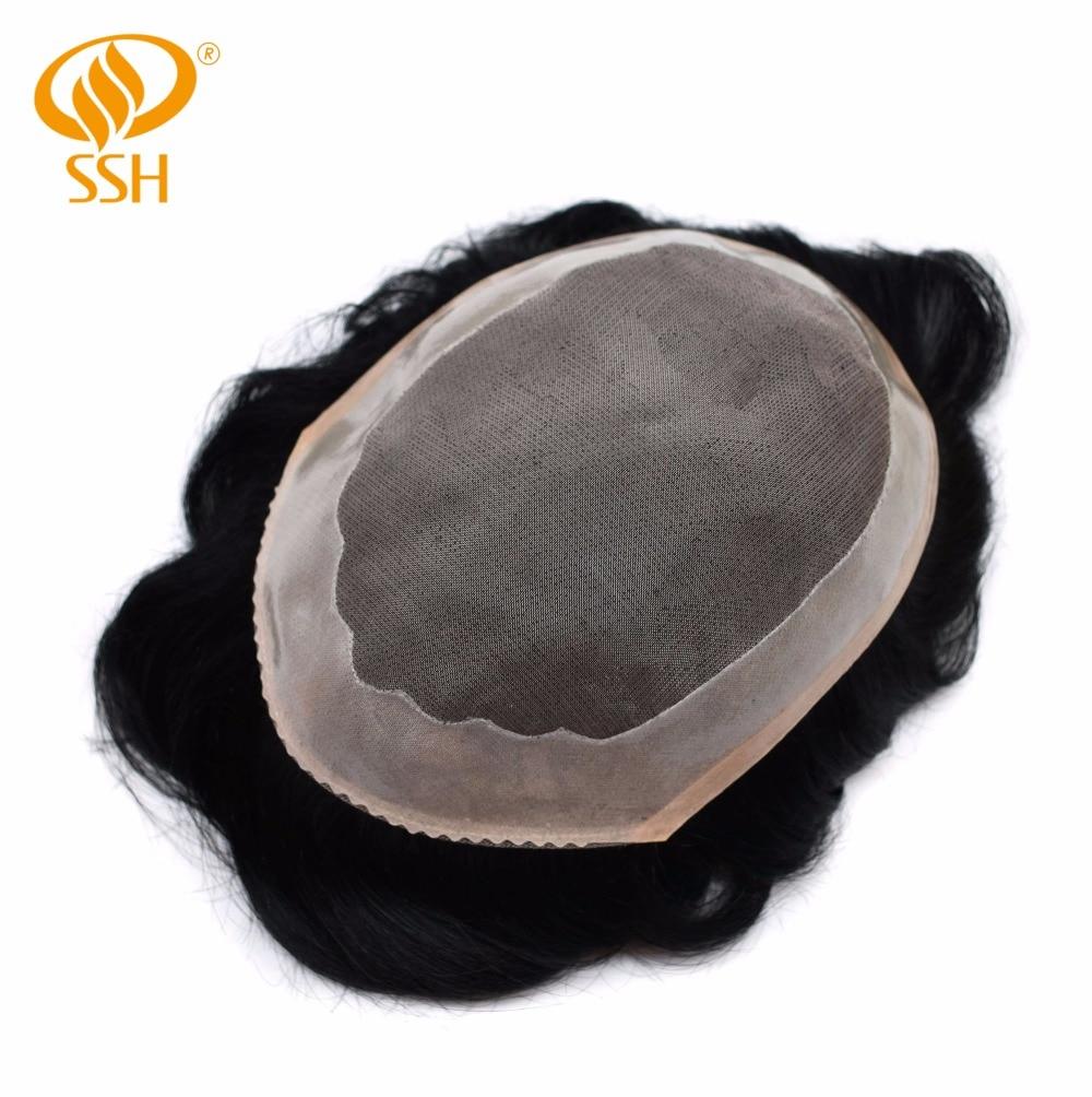 Ssh Fine Mono Men's Toupee Poly Coating Human Hair Wigs Men Hairpieces Black Durable