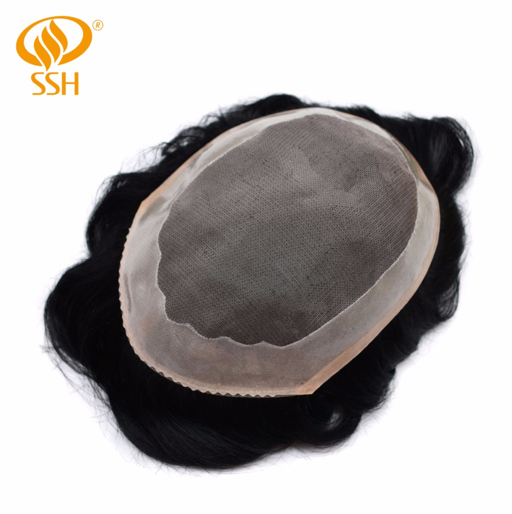Good Ssh Fine Mono Men's Toupee Poly Coating Human Hair Wigs Men Hairpieces Black Durable Delicacies Loved By All