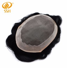 SSH Remy Hair Fine Mono Mens Toupee Poly Coating Human Wigs Men Hairpieces Black Durable