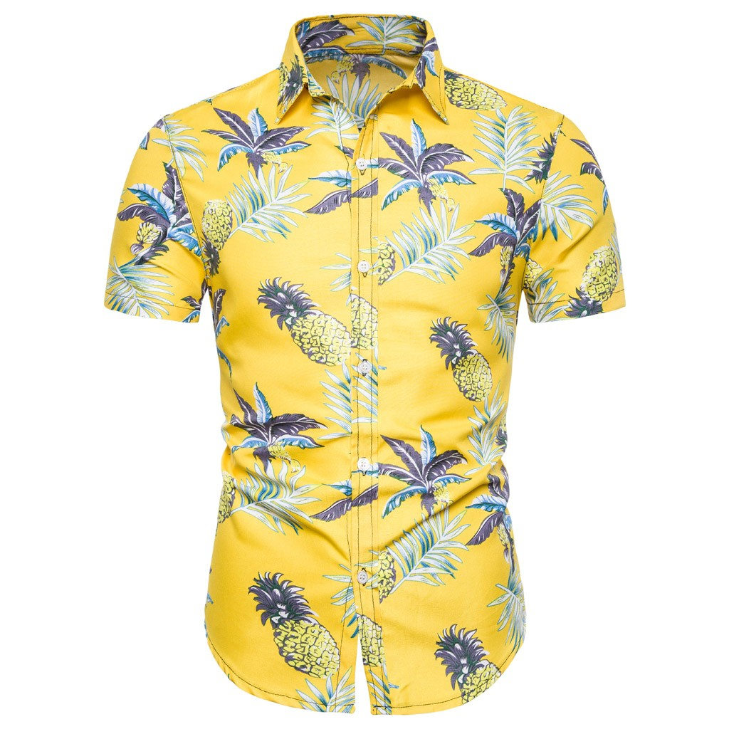 Hot Fashion Men Summer Hawaiian Cotton Yellow Short Sleeve Basic Shirt Blouse Fit Slim Printed Top Men Shirt 2019 New Arrivals