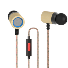 NewestKZ-ED7 3.5mm Bamboo Wooden Earphones HD HiFi In-Ear Bass Stereo Headset With Mic