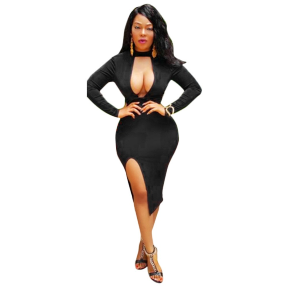 cd6fe229410f New 2017 Sexy Night Club Dress Women Black Solid Long Sleeve Cleavage  Halter Hollow Summer Party Style Dresses Vestidos NQ0093-in Dresses from  Women's ...