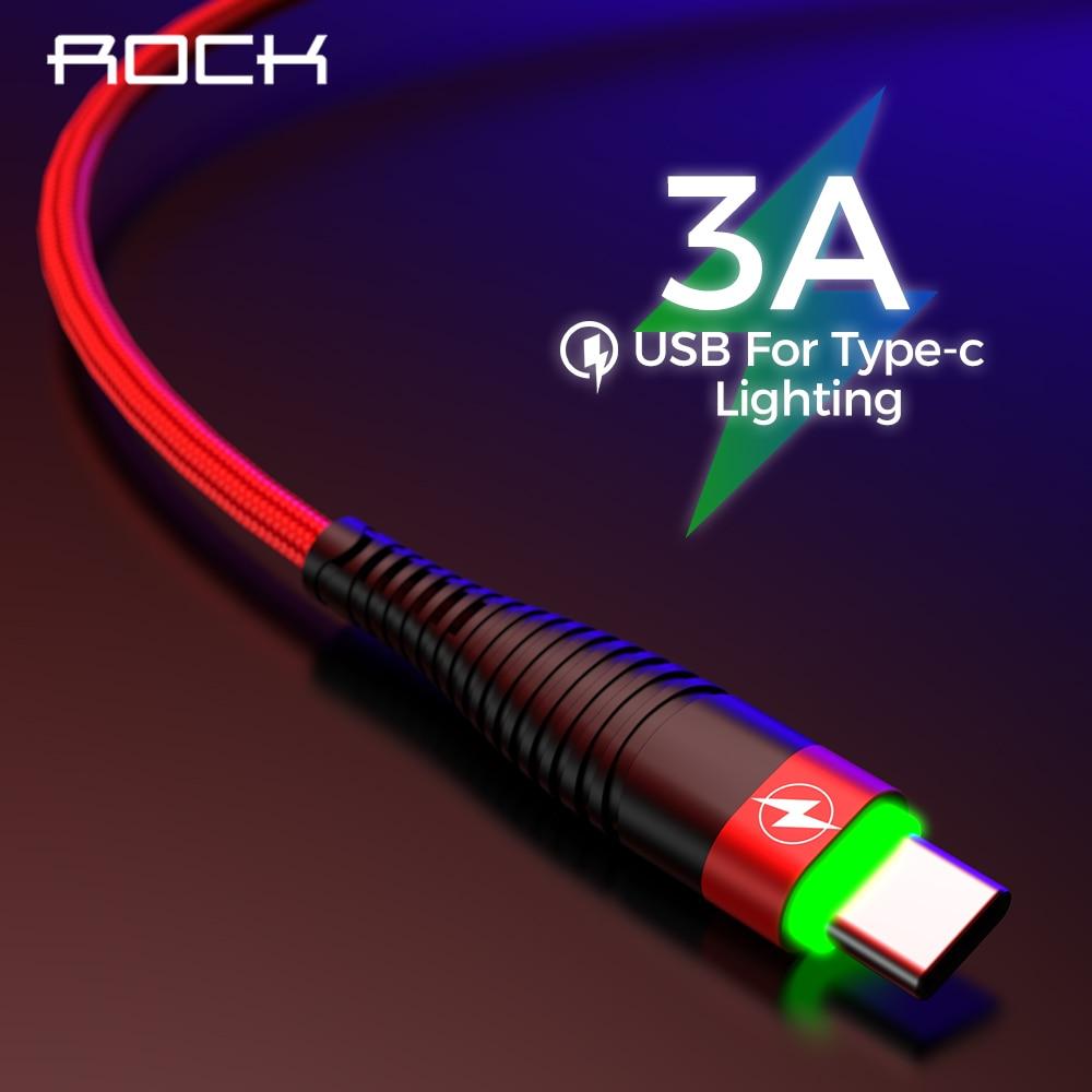 ROCK Tipo C Tipo C Cabo USBC 3A LEVOU Luz USB Carregamento Rápido QC 4.0 Carregador Tipo-c Iluminação cabo Para Samsung Xiaomi S10 S9 9 8