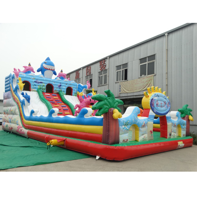 Good quality shark inflatable trampoline bouncer  slide for kids