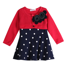 Toddler Baby Kids Girls Dress Princess Party Long Sleeve Tulle Polka Dot Fancy Tutu Dress