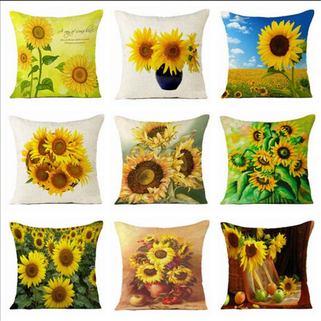 New Sunflower Cushion Cover 4040cm Decorative Pillows Sofa Cotton Awesome Sunflower Decorative Pillows