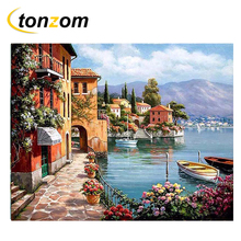 RIHE Peaceful Village Drawing By Numbers DIY Bridge House Painting Handwork On Canvas Oil Art Coloring Home Decor