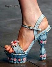 nice-looking wedding flower women sandals open toe high heel buckle strap shoes strange style heel beautiful shoes