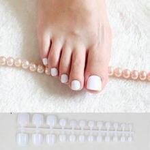 Unhas de acrílico falsas, unhas de dedos acrílicos brancas, imprensa quadrada para unhas de pé, doces artificiais, macaron, cor, unhas falsas, 24 peças