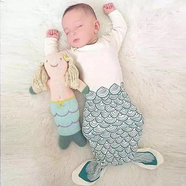 Мода хлопок nfant малышей хвост русалки одеяло детские мешок сна с рукавами