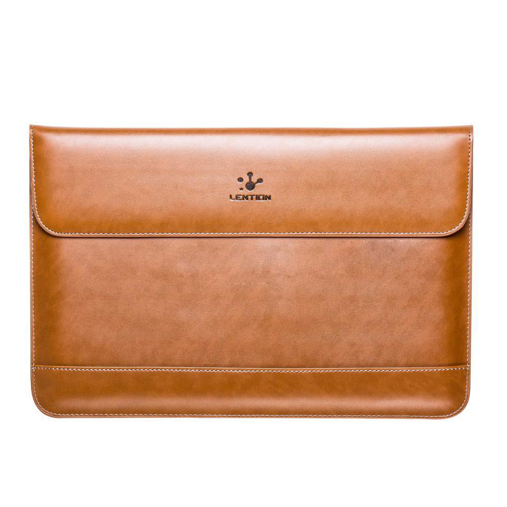 LENTION New Leather Notebook laptop Sleeve Case Bag For MacBook Pro/Air 13 Color:Brown Size:For 13.3inch