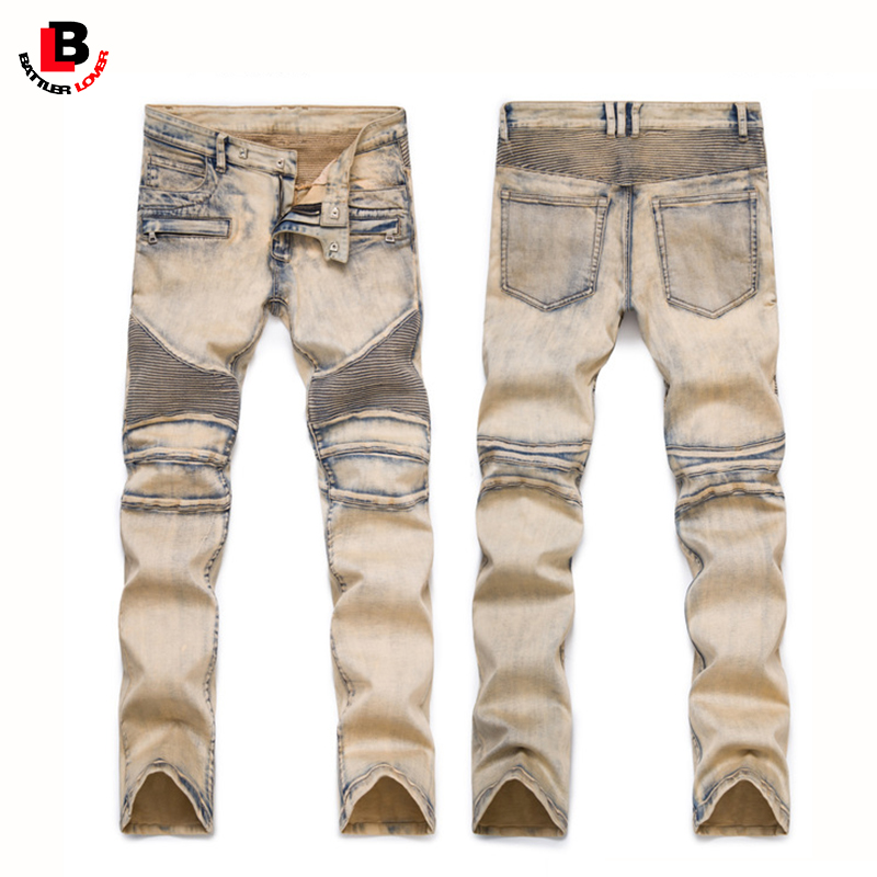 Motorcycle Pleated Jeans Men Biker Jean Autumn Thick Cotton Trousers Mens Hip Hop Ripped Elastic Jeans Male Casual Slim Fit Pant