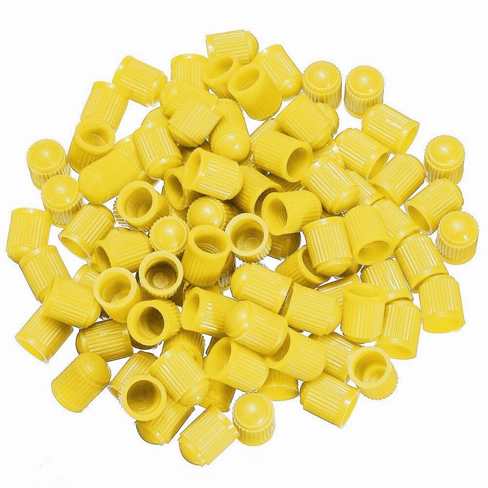 100 шт Универсальный Автомобильный велосипед Мотоцикл Грузовик колесная шина клапан Стволовые пылезащитные колпачки пластиковая крышка автомобильный Стайлинг - Цвет: Цвет: желтый