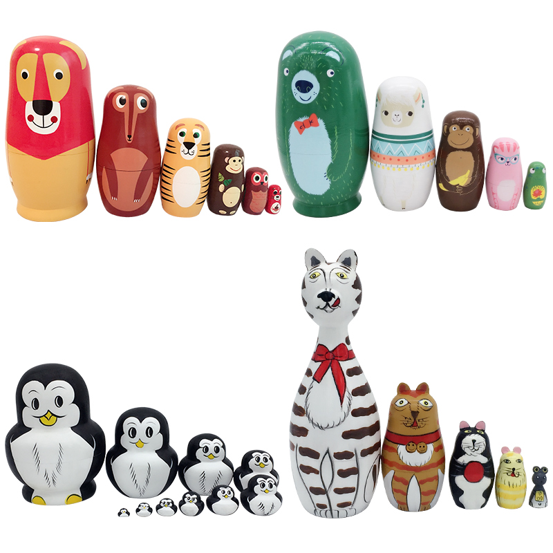 Animals Russian Matryoshka Dolls Toys For Children Christmas Gift Nesting Dolls Set Handmade Basswood Home Decor Photography