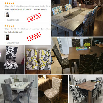 Geometric Print Stretchable Chair Cover For Dining Chairs 6 Chair And Sofa Covers