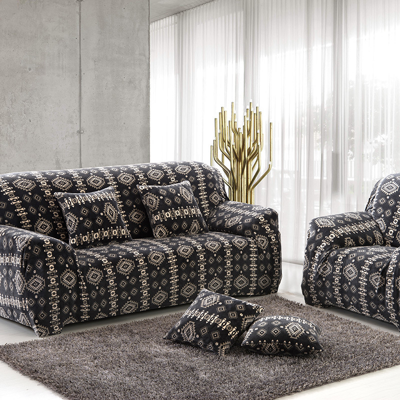 Thick Velvet Plush Sofa Slipcover Pixel Stretch Fashion Couch Cover Grey Purple Anti Mite Manta Warm Use Living Room